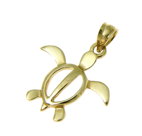 SOLID 14K YELLOW GOLD SHINY HAWAIIAN PETRO HONU TURTLE CHARM PENDANT