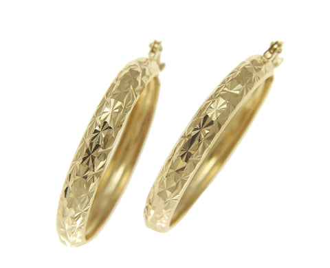 14K YELLOW GOLD 4.4MM SPARKLY SMOOTH DIAMOND CUT HOOP EARRINGS 31MM DIAMETER