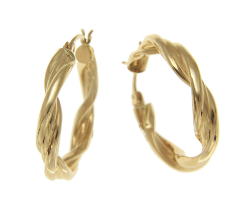 SOLID 14K YELLOW GOLD POLISHED SHINY 4.5MM TWISTED HOOP EARRINGS 27MM DIAMETER