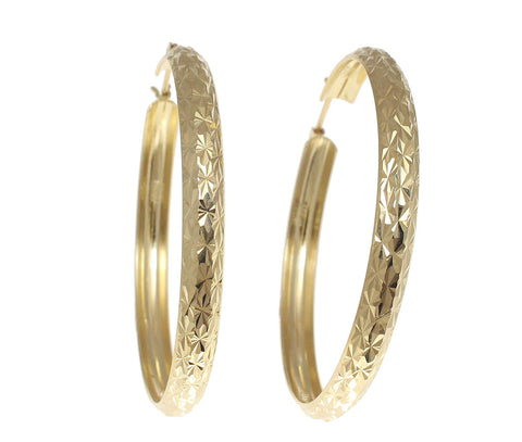 14K YELLOW GOLD 4.7MM SPARKLY SMOOTH DIAMOND CUT HOOP EARRINGS 45MM DIAMETER