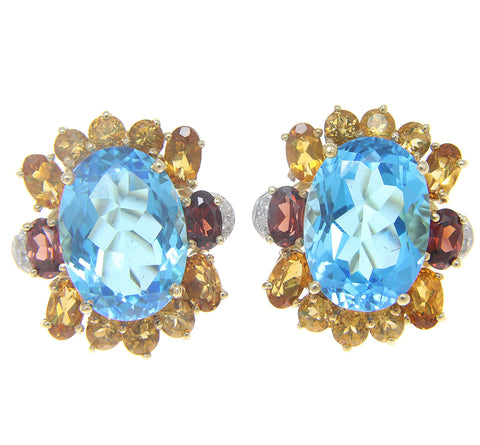 BLUE TOPAZ CITRINE GARNET DIAMOND EARRINGS OMEGA BACKS SOLID 14K YELLOW GOLD