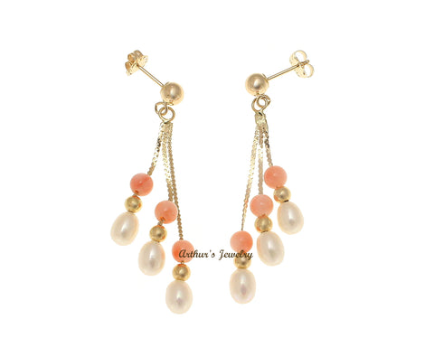 GENUINE PINK CORAL FRESH WATER PEARL DANGLE EARRINGS SOLID 14K YELLOW GOLD