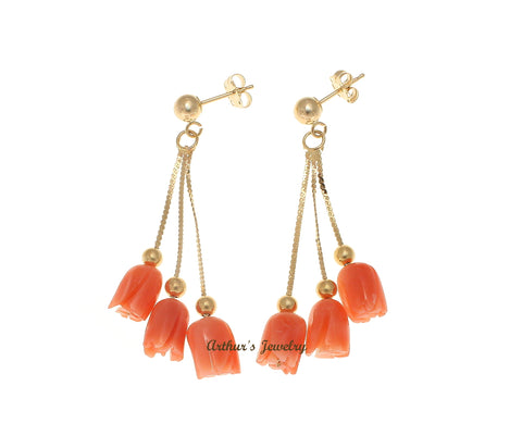 GENUINE PINK CORAL FLOWER TRIPLE DANGLE EARRINGS SOLID 14K YELLOW GOLD