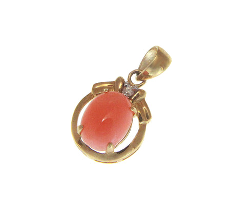 GENUINE NATURAL OVAL CABOCHON PINK CORAL DIAMOND PENDANT SOLID 14K YELLOW GOLD