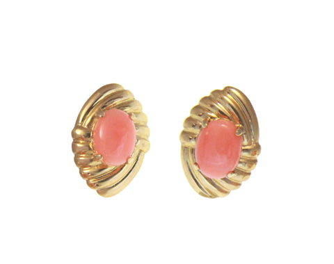 GENUINE NATURAL OVAL CABOCHON PINK CORAL EARRINGS SOLID 14K YELLOW GOLD