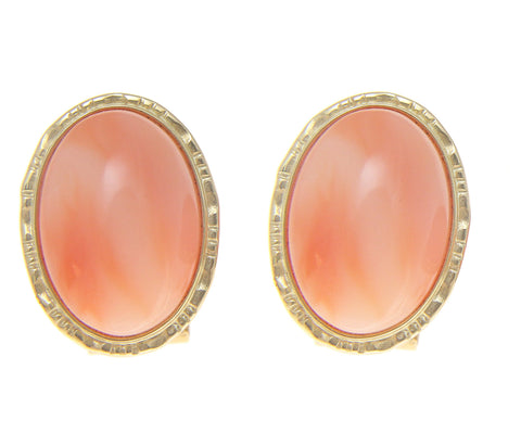 GENUINE NATURAL OVAL CABOCHON PINK CORAL EARRINGS OMEGA BACKS 14K YELLOW GOLD