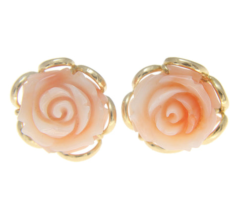 GENUINE NATURAL PINK CORAL CARVED FLOWER STUD EARRINGS SOLID 14K YELLOW GOLD