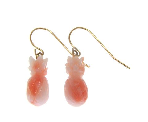 GENUINE NATURAL PINK CORAL PINEAPPLE EARRINGS SOLID 14K YELLOW GOLD WIRE HOOK