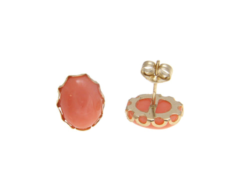 8X10MM GENUINE NATURAL OVAL CABOCHON PINK CORAL STUD EARRINGS 14K YELLOW GOLD