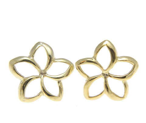 10MM 14K YELLOW GOLD HAWAIIAN HIGH POLISH SHINY OPEN PLUMERIA FLOWER EARRINGS