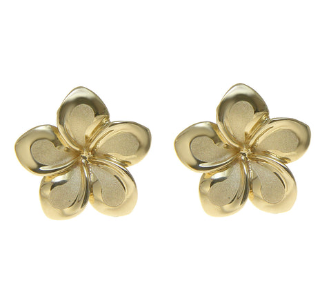 13MM SOLID 14K YELLOW GOLD HAWAIIAN FANCY PLUMERIA FLOWER STUD POST EARRINGS