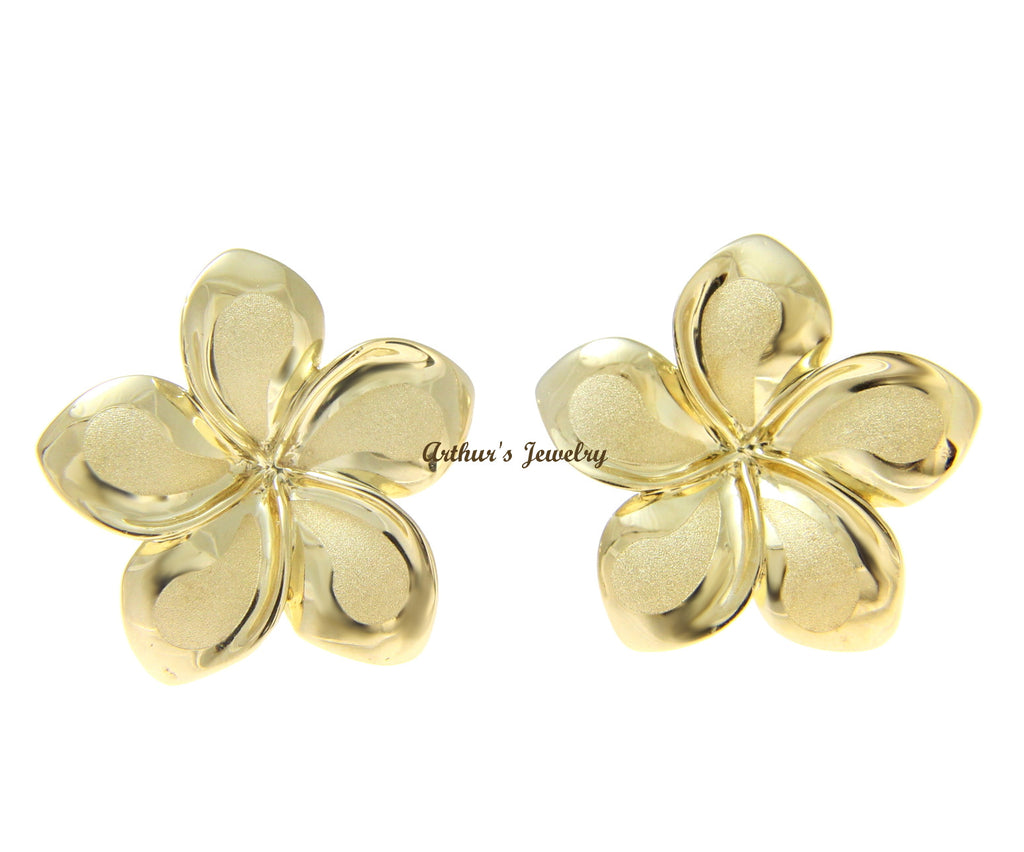 19.50MM SOLID 14K YELLOW GOLD HAWAIIAN FANCY PLUMERIA FLOWER STUD POST EARRINGS