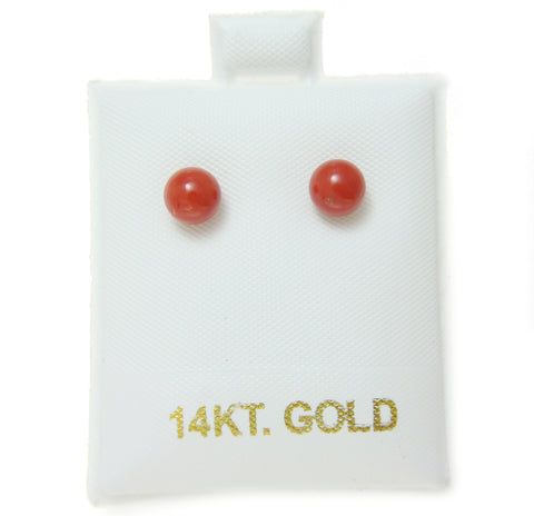 GENUINE NATURAL NOT ENHANCED RED CORAL BALL STUD EARRINGS 14K YELLOW GOLD 5.8MM