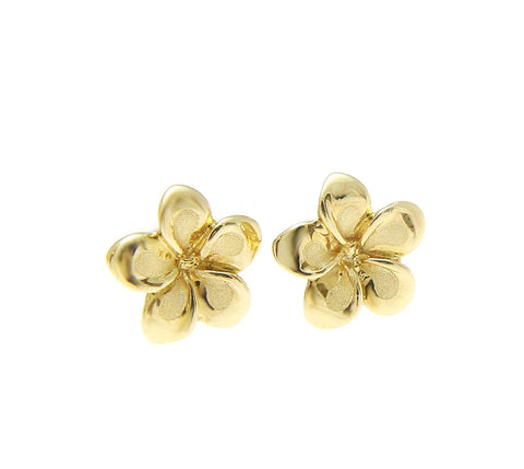 7MM SOLID 14K YELLOW GOLD HAWAIIAN FANCY PLUMERIA FLOWER STUD EARRINGS