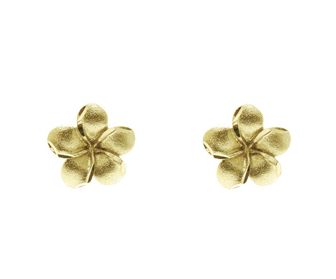 7MM 14K SOLID YELLOW GOLD HAWAIIAN PLUMERIA TROPICAL FLOWER EARRINGS POST STUD