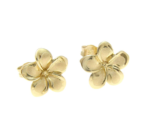 9MM SOLID 14K YELLOW GOLD HAWAIIAN FANCY PLUMERIA FLOWER STUD EARRINGS