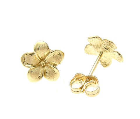 11MM SOLID 14K YELLOW GOLD HAWAIIAN FANCY PLUMERIA FLOWER STUD POST EARRINGS