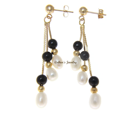 GENUINE BLACK CORAL FRESH WATER PEARL DANGLE EARRINGS SOLID 14K YELLOW GOLD