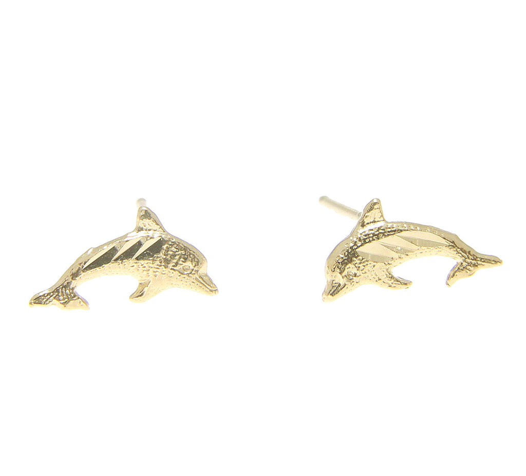 SOLID 14K YELLOW GOLD HAWAIIAN DIAMOND CUT DOLPHIN EARRINGS SMALL 9.9MM