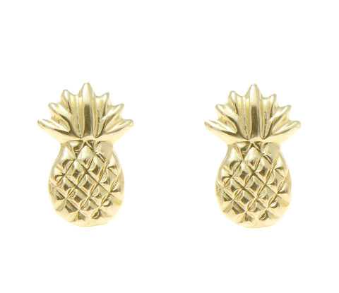 SOLID 14K YELLOW GOLD HAWAIIAN PINEAPPLE STUD POST EARRINGS SMALL 7MM