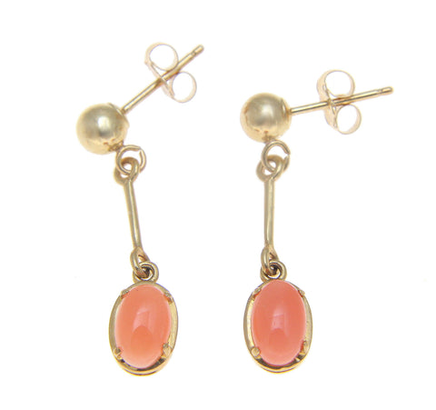 GENUINE NATURAL OVAL CABOCHON PINK CORAL DANGLE EARRINGS SOLID 14K YELLOW GOLD