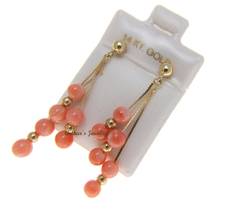 GENUINE PINK CORAL BALL TRIPLE DANGLE EARRINGS SOLID 14K YELLOW GOLD