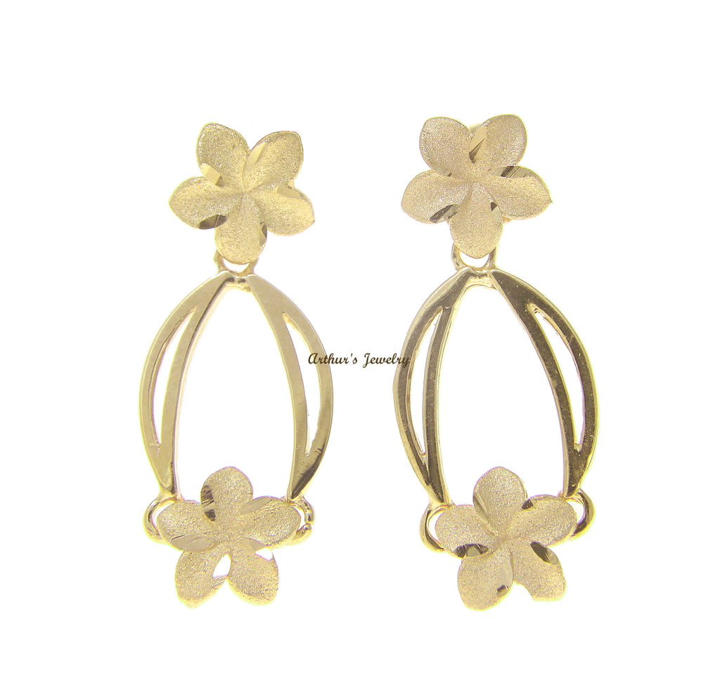 14K SOLID YELLOW GOLD HAWAIIAN PLUMERIA FLOWER DANGLING EARRINGS