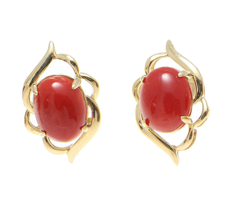 GENUINE NATURAL OVAL CABOCHON RED CORAL EARRINGS SOLID 14K YELLOW GOLD