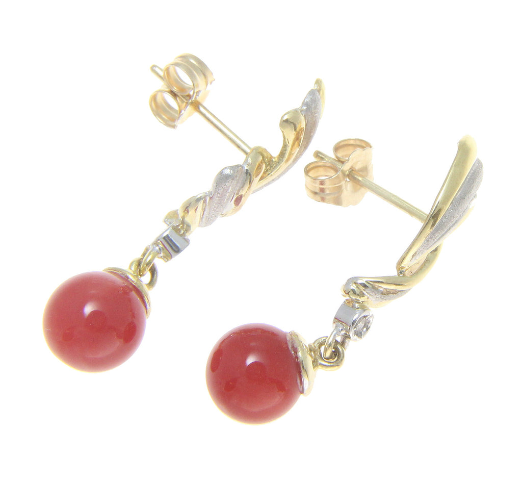 Genuine Natural Red Coral Ball Diamond Dangle Earrings 14k Yellow White Gold