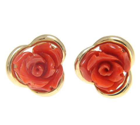 GENUINE NATURAL RED CORAL CARVED FLOWER STUD POST EARRINGS SOLID 14K YELLOW GOLD