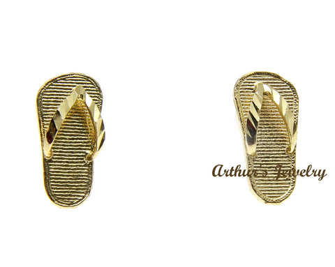 SOLID 14K YELLOW GOLD HAWAIIAN SLIPPER FLIP FLOP THONG EARRINGS 5.4MM