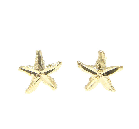 SOLID 14K YELLOW GOLD HAWAIIAN DIAMOND CUT SEA STAR STARFISH EARRINGS SMALL 7MM