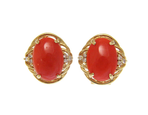 GENUINE NATURAL CABOCHON DEEP PINK CORAL DIAMOND EARRINGS OMEGA 14K YELLOW GOLD