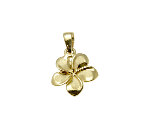 9MM SOLID 14K YELLOW GOLD HAWAIIAN FANCY PLUMERIA FLOWER CHARM PENDANT