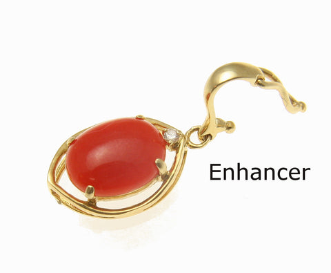 GENIUNE NATURAL RED CORAL DIAMOND PENDANT ENHANCER SOLID 14K YELLOW GOLD 10.5MM