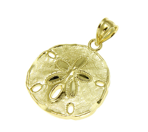 16MM 14K YELLOW GOLD HAWAIIAN SAND DOLLAR CHARM PENDANT DIAMOND CUT