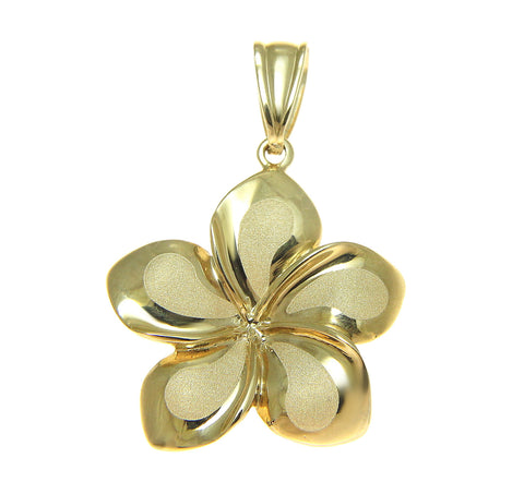 21MM SOLID 14K YELLOW GOLD HAWAIIAN FANCY PLUMERIA FLOWER CHARM PENDANT