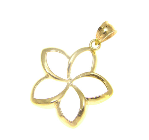 21MM SOLID 14K YELLOW GOLD HAWAIIAN POLISH SHINY OPEN PLUMERIA FLOWER PENDANT