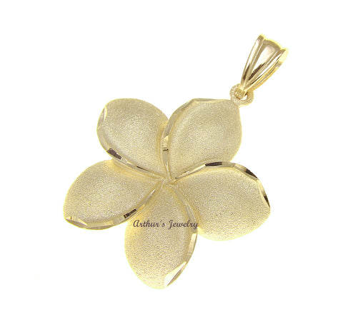 22MM SOLID 14K YELLOW GOLD HAWAIIAN TROPICAL PLUMERIA FLOWER PENDANT CHARM