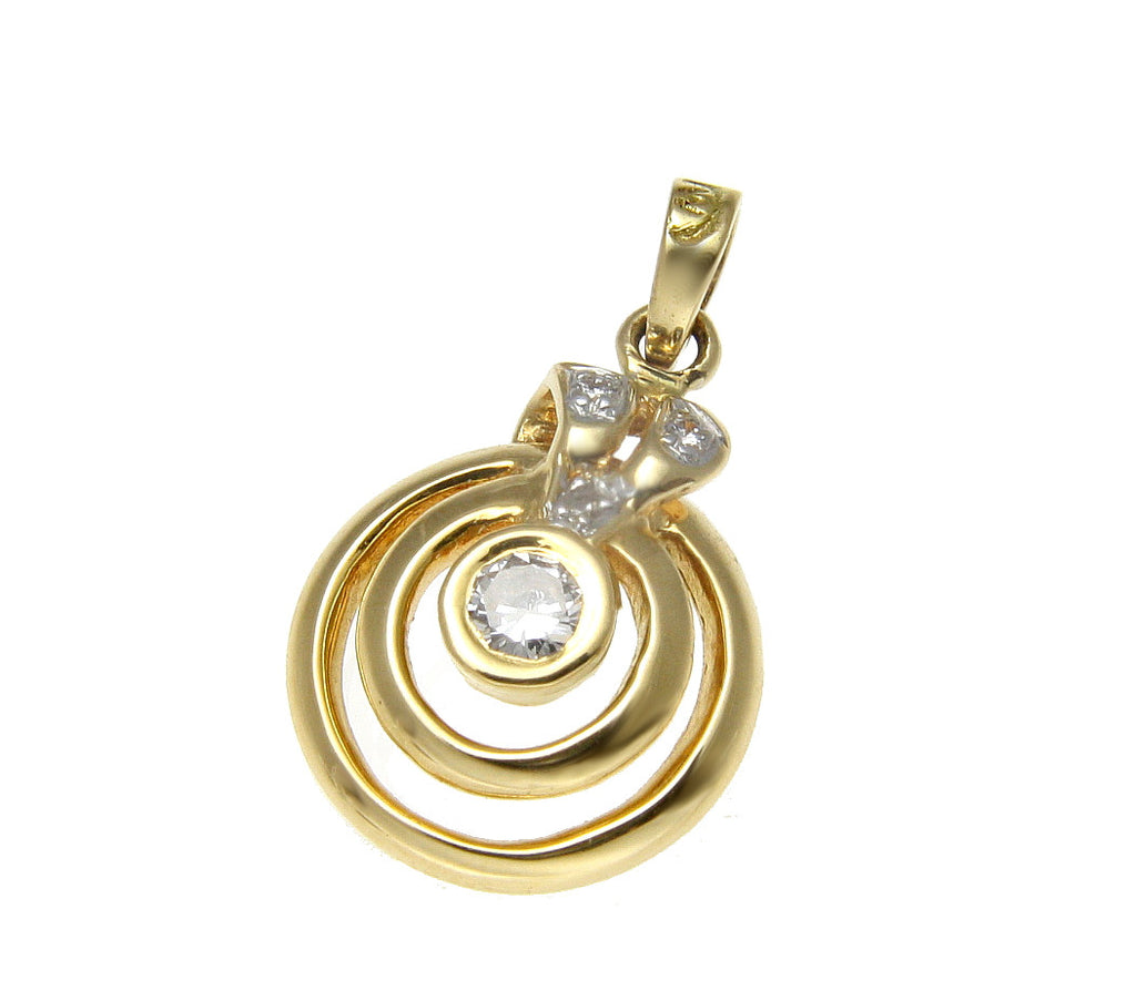 0.08 CTW GENIUNE DIAMOND ROUND CIRCLE RING PENDANT SET IN  SOLID 18K YELLOW GOLD