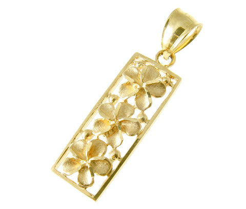 14K SOLID YELLOW GOLD HAWAIIAN 3 PLUMERIA FLOWER VERTICAL PENDANT 9MM