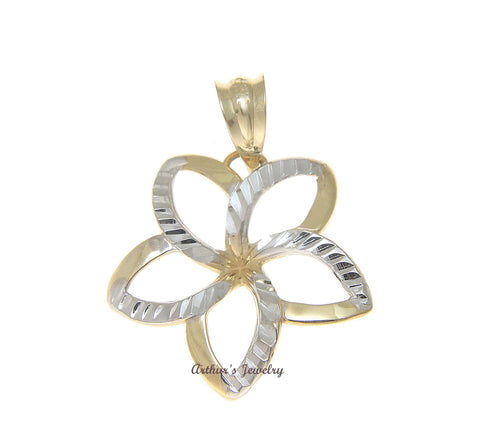 19MM 14K SOLID YELLOW GOLD HAWAIIAN OPEN PLUMERIA WHITE DIAMOND CUT PENDANT