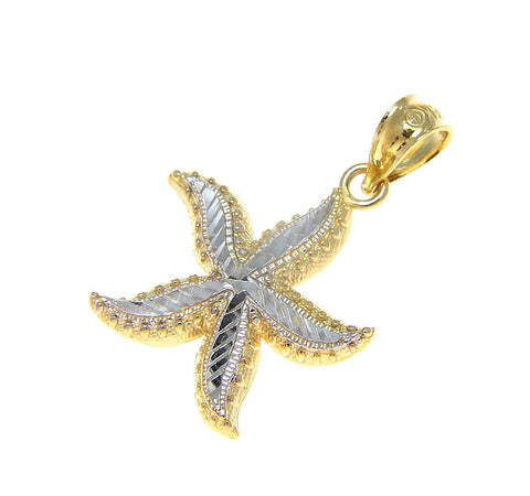 25MM 14K YELLOW GOLD HAWAIIAN OCEAN SEA STAR STARFISH PENDANT WHITE GOLD LARGE