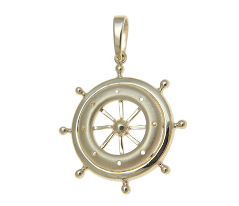 SOLID 14K YELLOW GOLD SAILOR SHIP WHEEL CHARM PENDENT 27MM