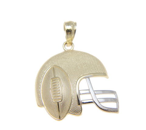 SOLID 14K YELLOW GOLD WHITE GOLD FOOTBALL HELMET CHARM PENDENT LARGE 17.75MM