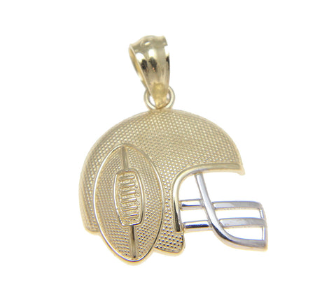 SOLID 14K YELLOW GOLD WHITE GOLD FOOTBALL HELMET CHARM PENDENT SMALL 13.75MM