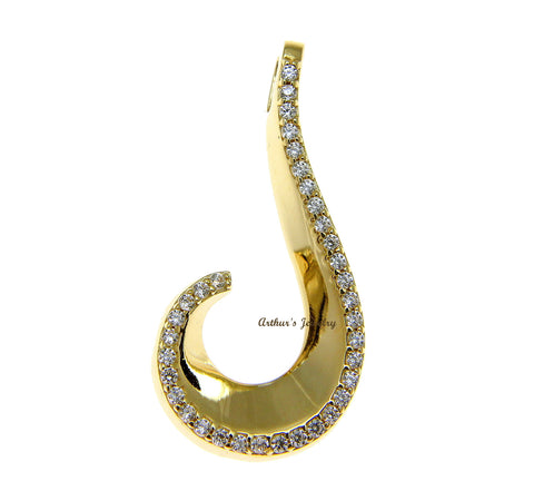 SOLID 14K YELLOW GOLD SHINY HAWAIIAN FISH HOOK BLING CZ SLIDE PENDANT