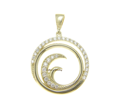 SOLID 14K YELLOW GOLD HAWAIIAN OCEAN WAVE CIRCLE CHARM BLING CZ PENDANT 18.30MM