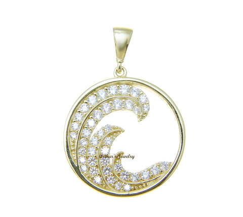 SOLID 14K YELLOW GOLD HAWAIIAN OCEAN WAVE CIRCLE CHARM BLING CZ PENDANT 17.40MM