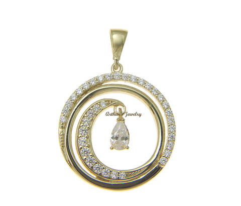 SOLID 14K YELLOW GOLD HAWAIIAN OCEAN WAVE CIRCLE CHARM BLING CZ PENDANT 19MM
